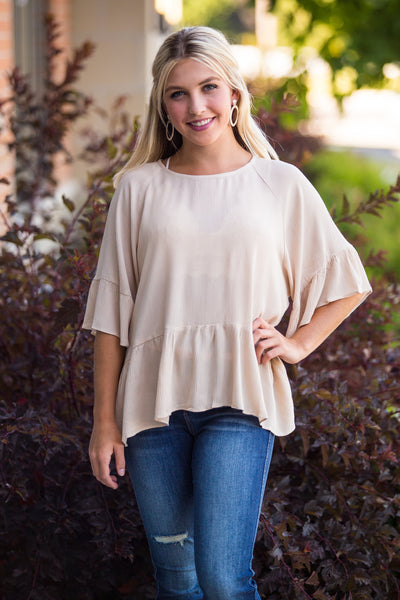Won't Let You Go-Ruffle Edge Blouse Top Beige