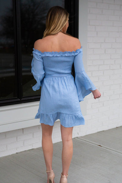 Vacay- Bell Sleeve Off Shoulder Dress Blue