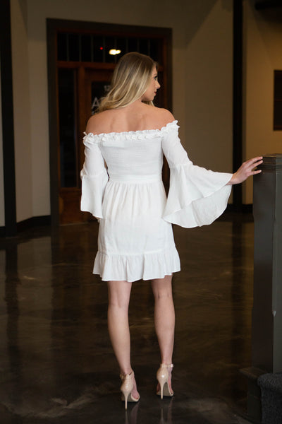Vacay- Bell Sleeve Off Shoulder Dress Off White