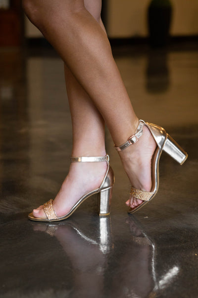 Queen- Rhinestone Strap Chunky Heel Rose Gold