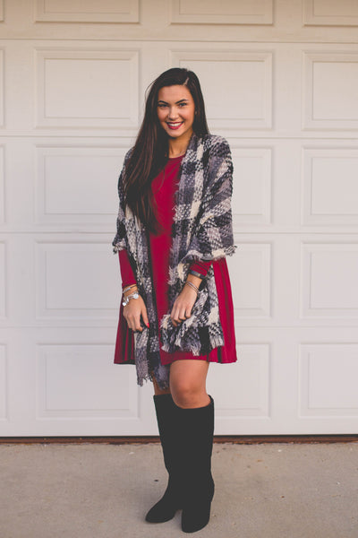 Light As A Feather- Grey/Black/Cream Plaid Scarf