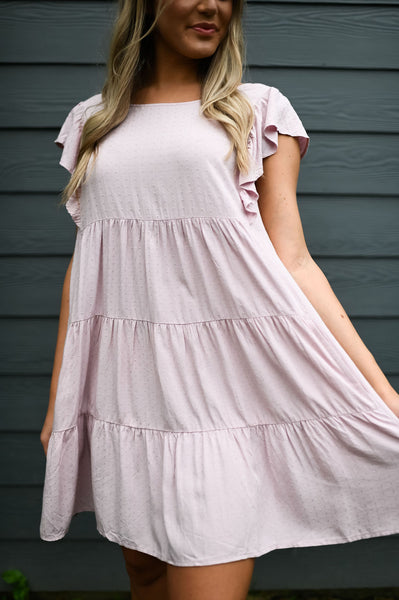 Date Night- Dot Ruffle Babydoll Dress Lilac