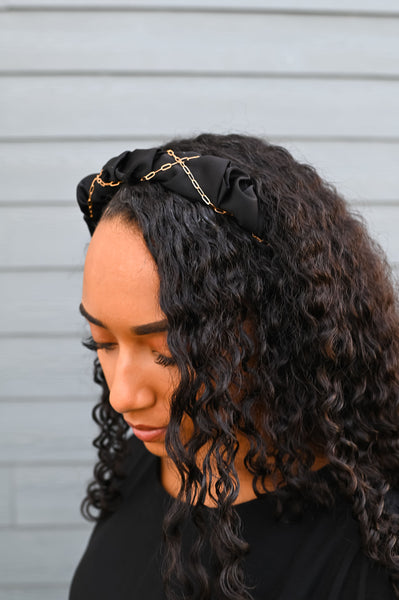 XOXO- Ruffled Chain Headband Black