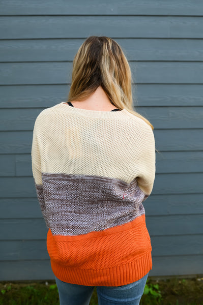 Pumpkin Patch- Colorblock Texture Sweater