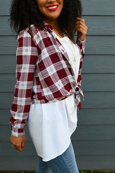 Bonfire Season- Plaid Button Down