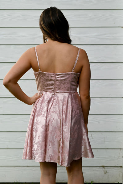 Sophisticated- Satin Jacquard Dress Blush