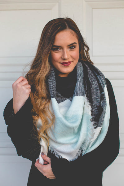 Warm & Cozy- Light Blue/Black/White Blanket Scarf
