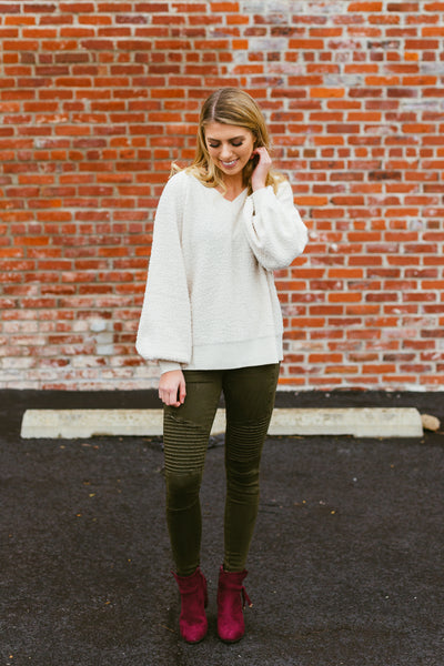 Forever Yours- Bubble Sleeve Sweater Ivory