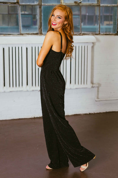 Stand Out- Black Glitter Jumpsuit