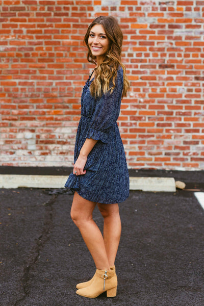 Rolling Stone- Navy Pleated Dress