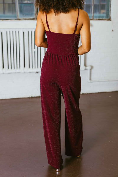 Stand Out- Burgundy Glitter Jumpsuit