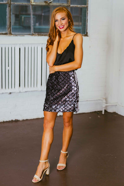 Sparks Fly- Silver Checker Sequin Mini Skirt