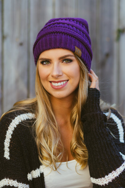 All Day, Every Day- Purple C.C. Beanie