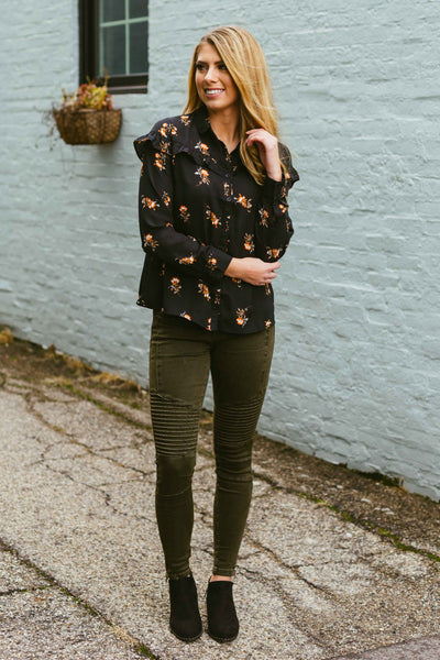 Winter Bliss- Floral Print Button Down