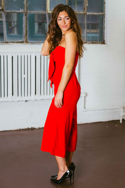 Martha May- Red Tie Front Strapless Jumpsuit