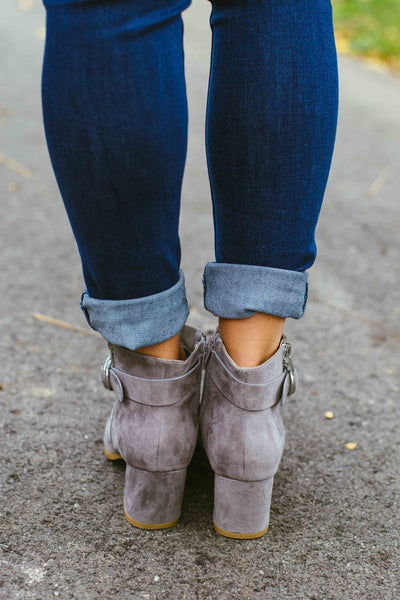 State High -Gray Ankle Bootie w/Buckle