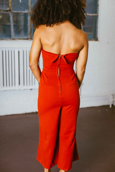 Like A Dream- Rust Pleated Strapless Jumpsuit