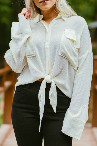 Saint- Button Up Tie Top