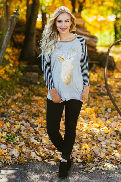 Glam Reindeer- Striped GreySequin Reindeer Top