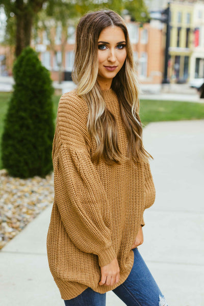 You're A Dream- Camel Balloon Shift Sweater Tunic