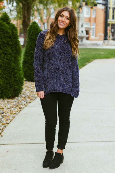 Chill in the Air-  Charcoal Chenille Sweater