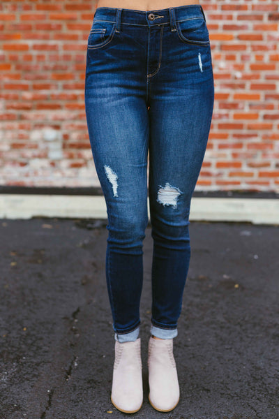 On Repeat- Distressed High Rise Dark Skinnies