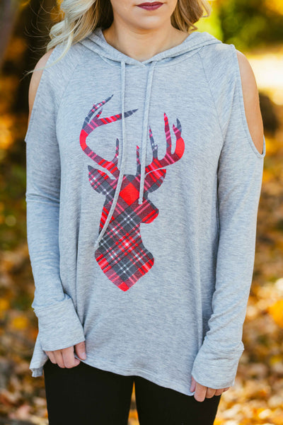 To Grandmother's House We Go- Plaid Reindeer Cold Shoulder