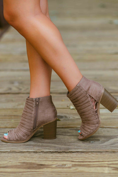 Look at Me Now- Taupe Peep Toe Bootie