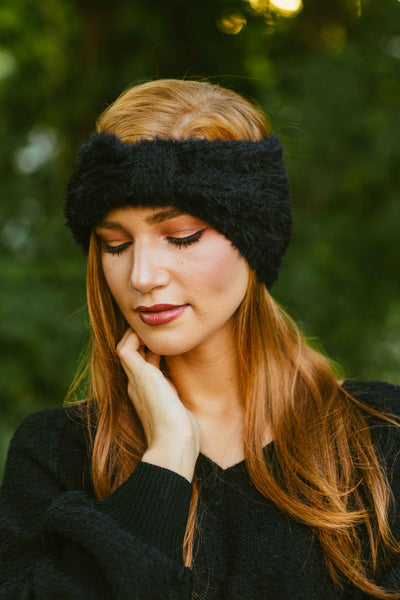 Cozier- Fuzzy Cinched Headwrap Black