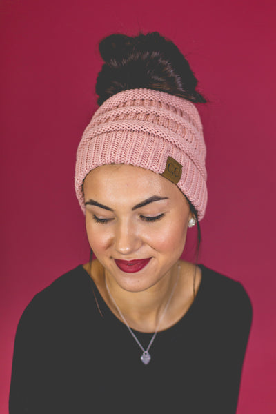 Chill Out- Pink Messy Bun Beanie