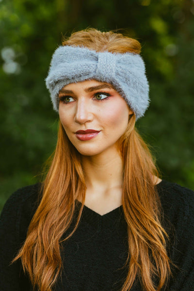 Cozier- Fuzzy Cinched Headwrap Grey