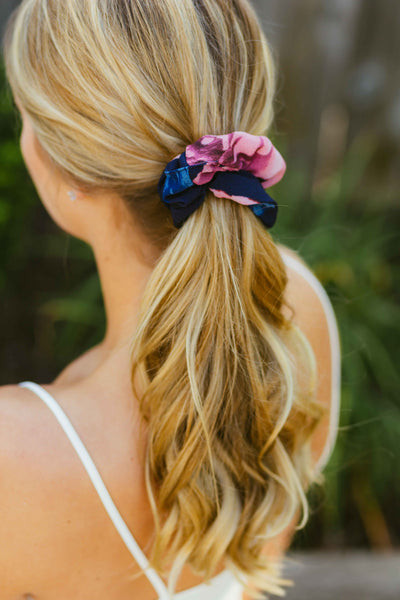 70s Babe- Navy Floral Hair Scrunchie