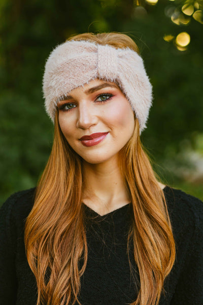 Cozier- Fuzzy Cinched Headwrap Blush