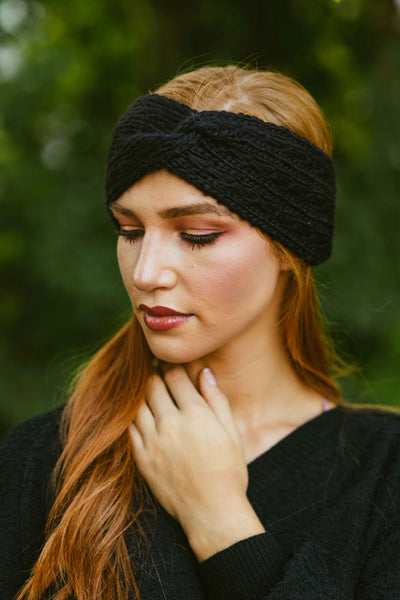 Bundled Up- Cable Knit Cinched Headwrap Black