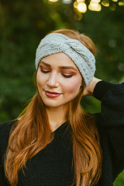 Bundled Up- Cable Knit Cinched Headwrap Beige