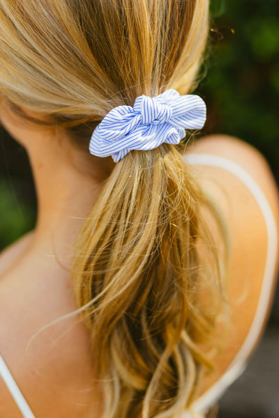 Sailor- Blue Striped Bow Hair Scrunchie