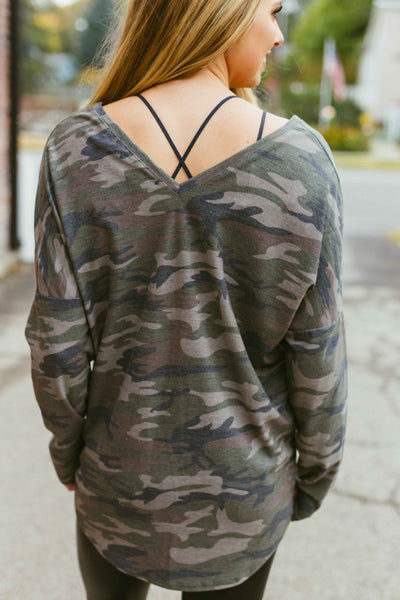 With Pleasure- Camo Hunter Green Sweater