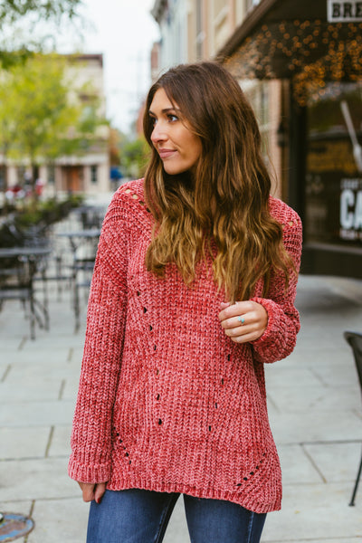 Chill in the Air- Dark Coral Chenille Sweater