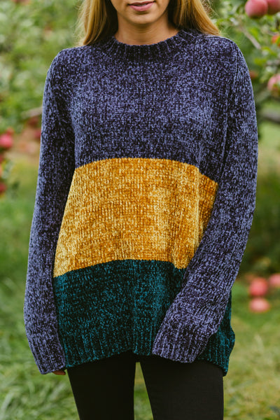 Color My World- Chenille Color Block Sweater