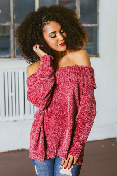 Over and Out- Chenille Off The Shoulder Sweater