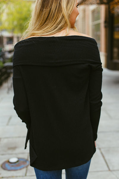 Dixon- Black Cowl Neck Sweater
