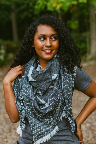Warm & Cozy- Light Grey/Charcoal/Black Blanket Scarf