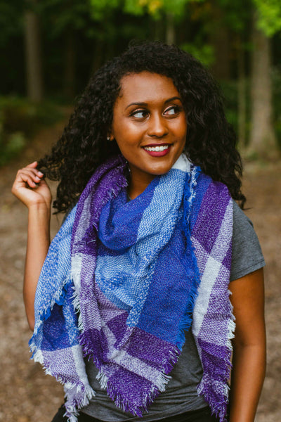 Autumn Plaid Scarf- Blue/Silver