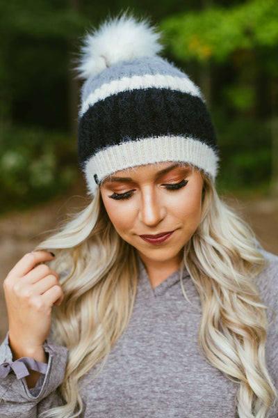 Alpine- Color Block Beanie w/Pom Black