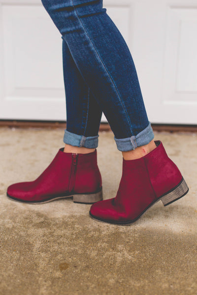 Let's Go On An Adventure- Burgundy Ankle Booties