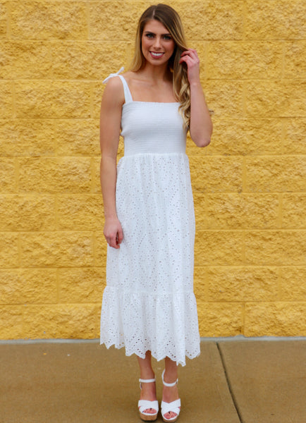 Best of Me- Smocked Eyelet Dress