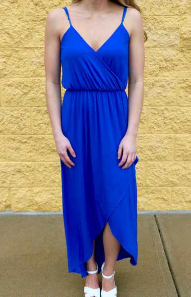 Sleek and Chic- Royal Blue VNeck Maxi
