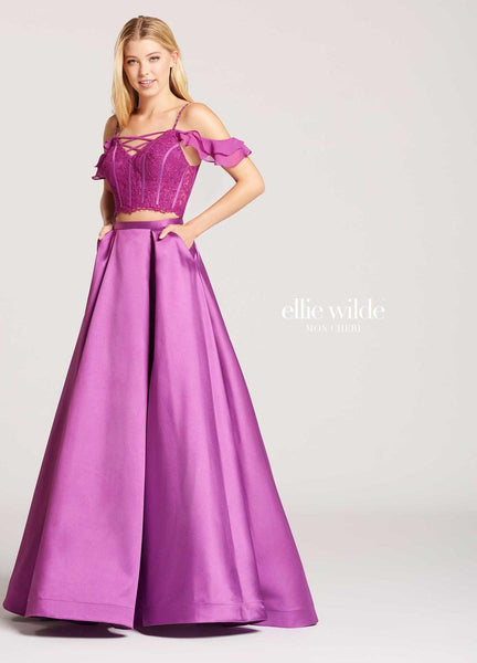 The fabric in this Ellie Wilde Two-Piece style is Mikado, Lace & Chiffon   Ellie Wilde by Mon Cheri