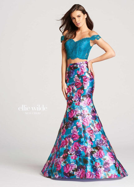 The fabric in this Ellie Wilde Two-Piece style is Printed Mikado & Lace   Ellie Wilde by Mon Cheri
