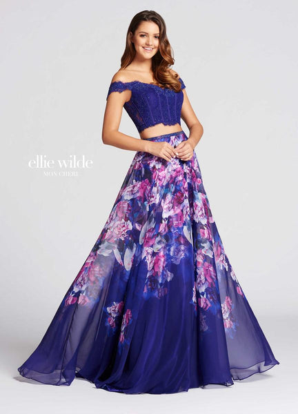 The fabric in this Ellie Wilde Two-Piece style is Printed Chiffon & Lace   Ellie Wilde by Mon Cheri